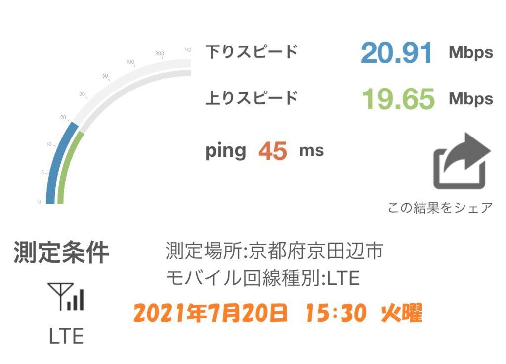 京田辺市 通信速度